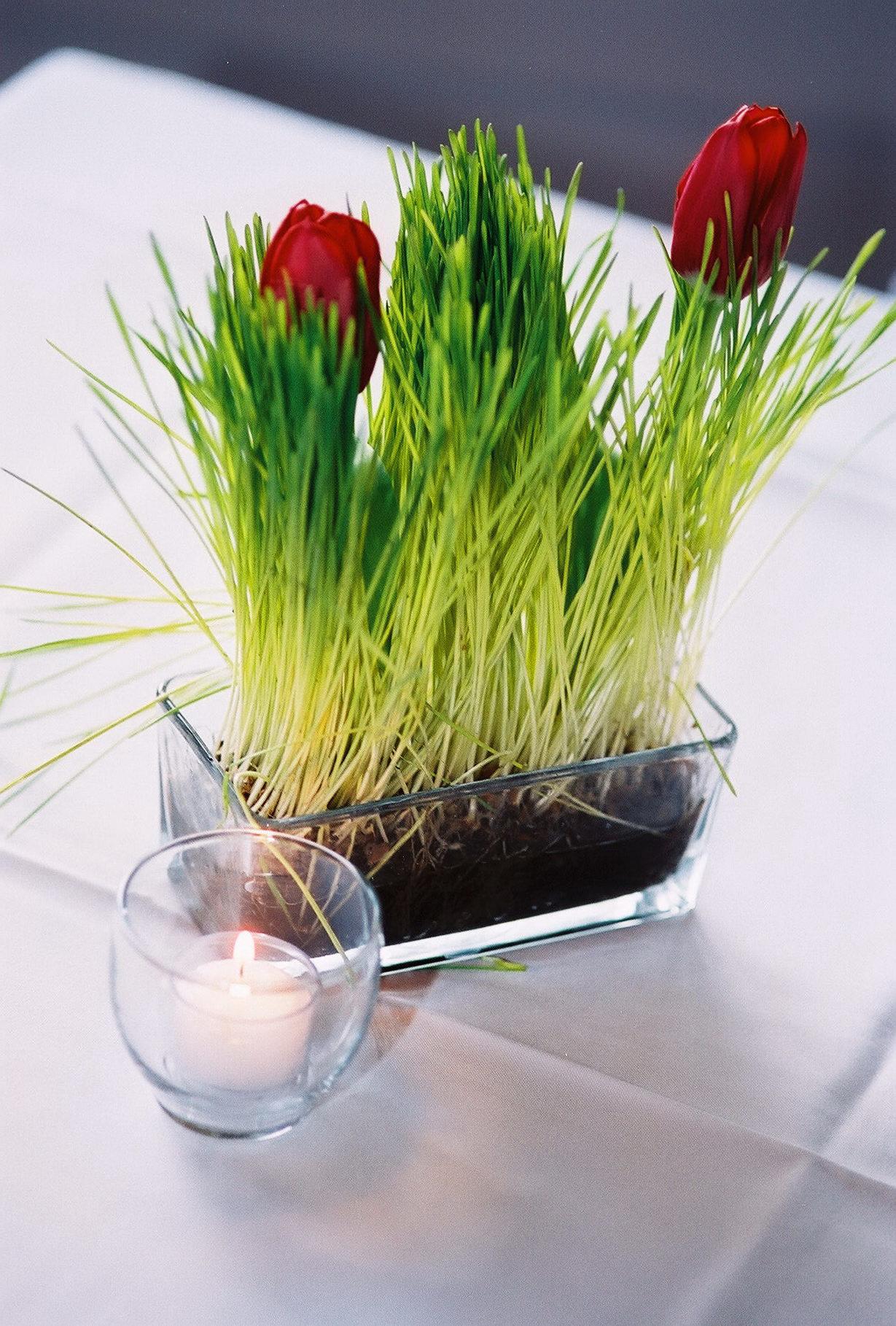 Red Tulip Wheat Grass Centerpiece