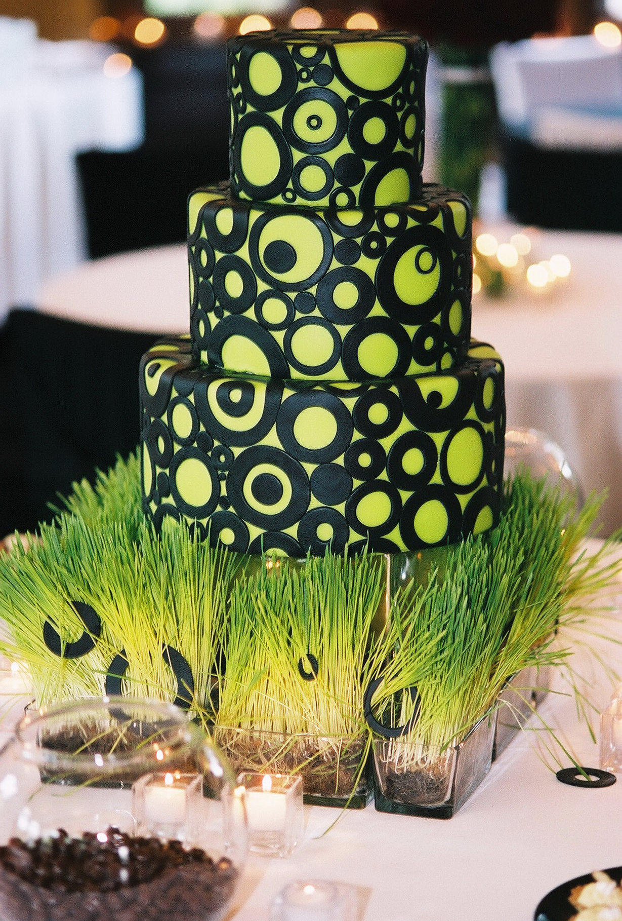 Lime Green and Black Cake from Gateaux
