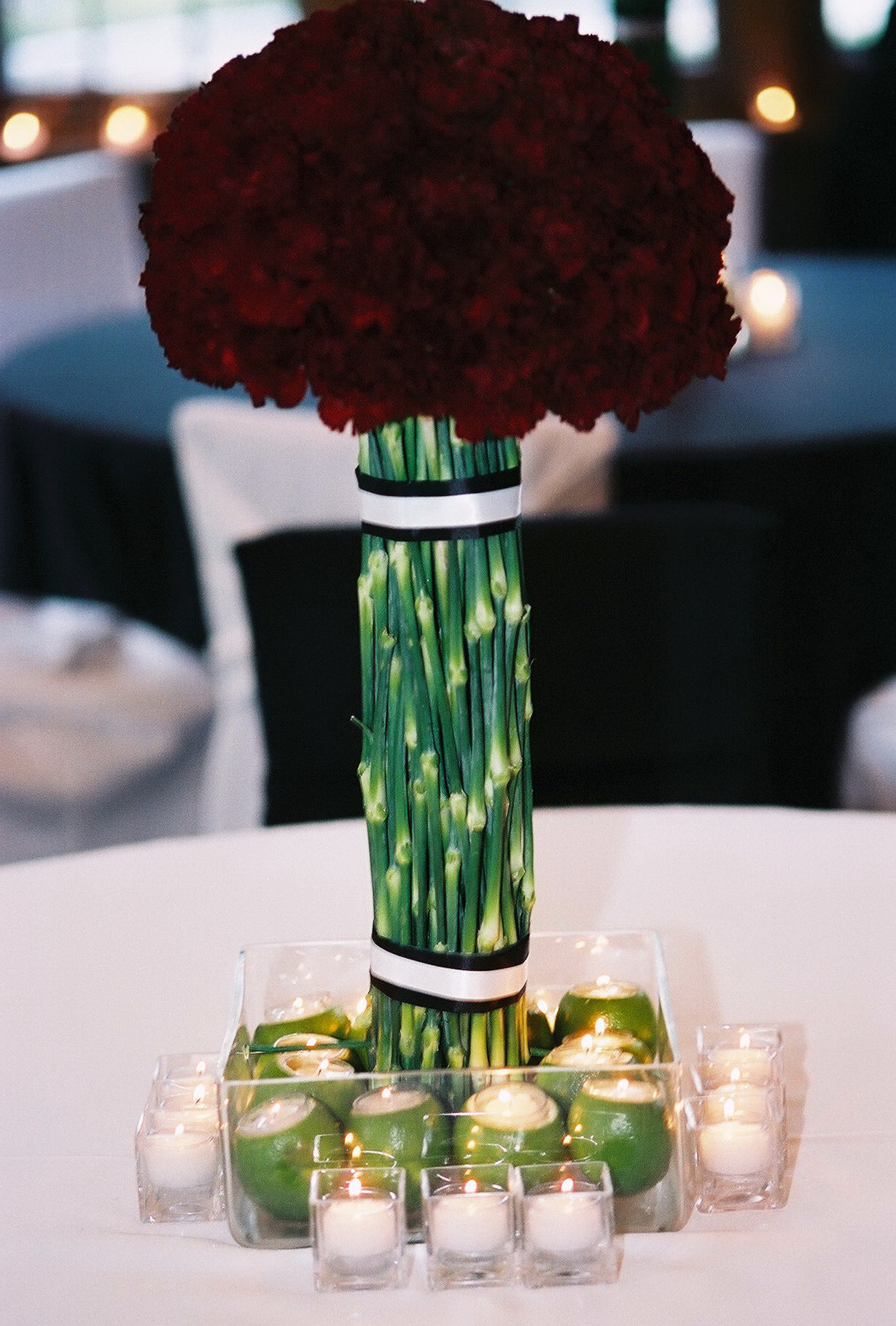 Red Carnation Topiary and Lime Centerpiece