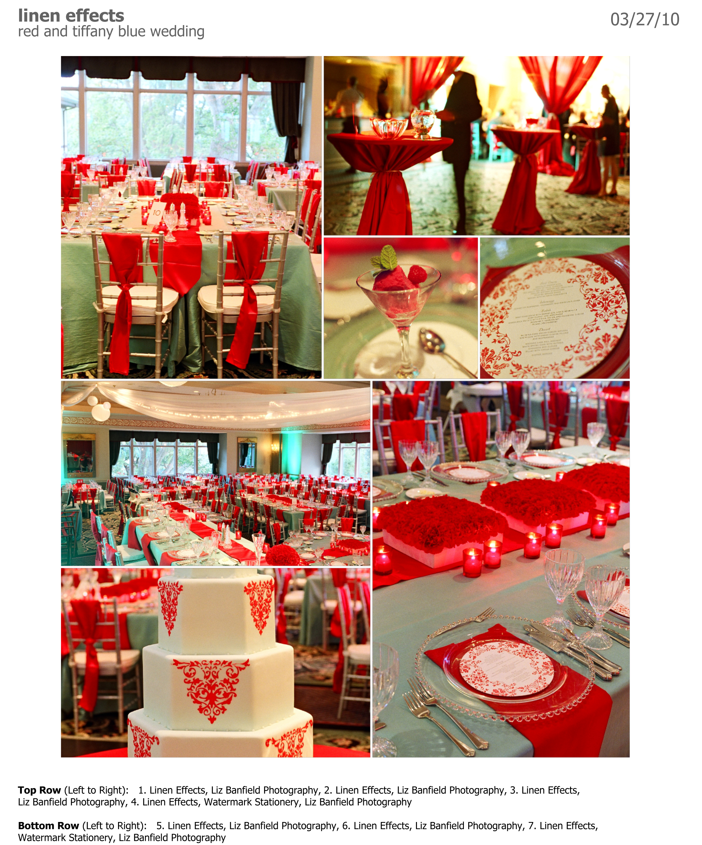 Linen Effects Red and Tiffany Blue Wedding Style Board